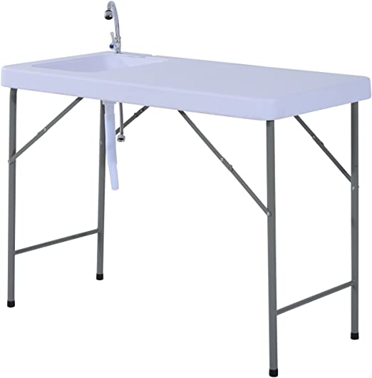 Outsunny – Mesa de camping plegable con fregadero y grifo, de exterior, para eventos y fiestas, de polietileno blanco, 115 x 59 x 86 cm: Amazon.es: Jardín