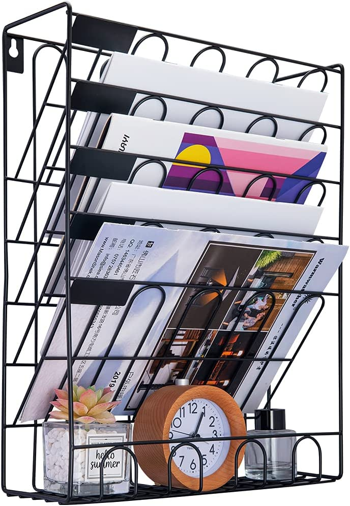 Spacrea Hanging File Holder Organizer - 6 Tier Wall Mount File Organizer, Hanging Wall File for Office, School or Home (Black) : Office Products