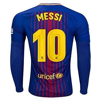 2017 2018 FC Barcelona LA página de inicio de fútbol Fútbol camiseta de manga larga 10 Lionel Messi: Amazon.es: Deportes y aire libre