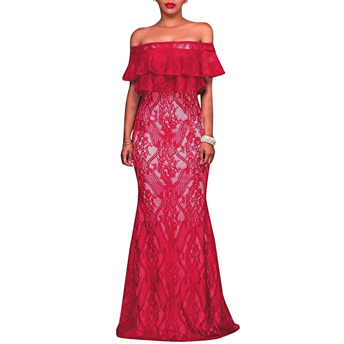 Synker Mujer Vestidos de Noche Fiesta Largo Encaje Vintage Vestidos de Coctel