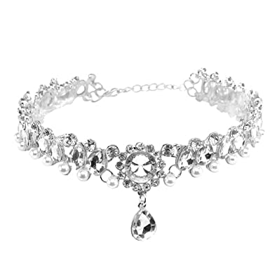 MultiWare 2 Colors Elegant Women Crystal Necklace Rhinestone Diamond Flower Pendant Choker Jewelry bbpHl8sS