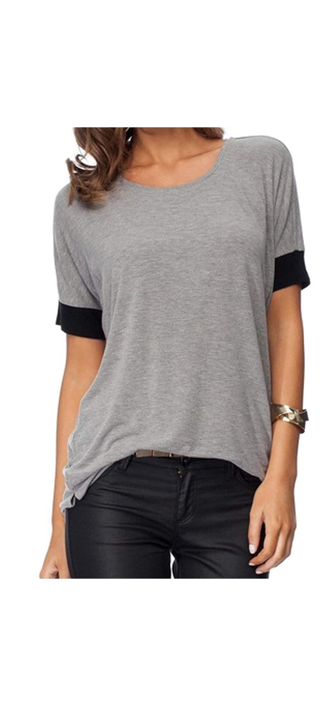 Women's Casual Round Neck Loose Fit Short Sleeve