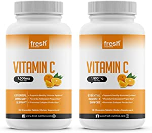 Vitamin C - (2 Pack) Powerful 1500mg Per Day Immune Support - Tasty Chewable Vitamin C Supplement All Year-Round Potent Support - Vegan Friendly, Non-GMO, Gluten & Soy Free - All Natural VIT C