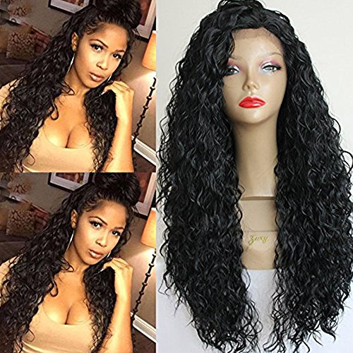(PlatinumHair #1b loose curl wigs synthetic lace front wigs heat resistant synthetic wigs 24-26