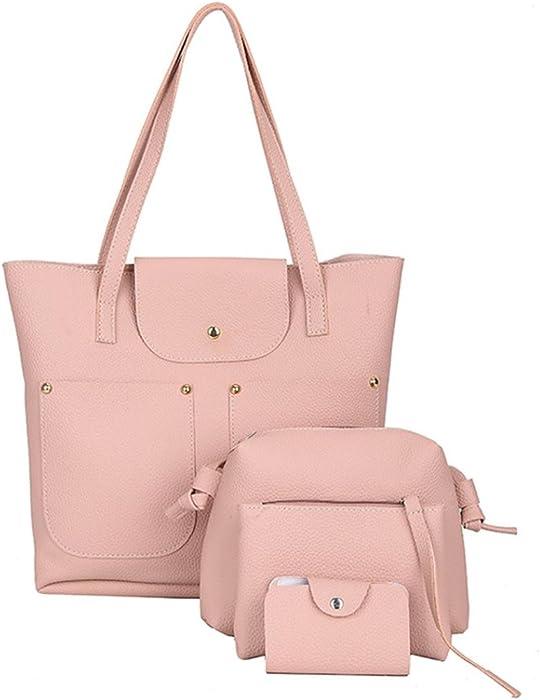 504b610a112 Women's Hanbags,Brezeh 4Pcs Womens Fashion Casual Leather Shoulder ...