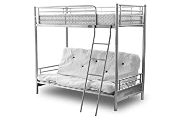 Alaska Futon Bunk Bed Silver With Bottom Mattress Only Top Single