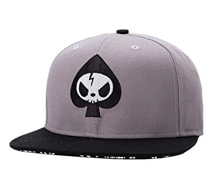 Connectyle Mens Skull Embroidery Fitted Flat Bill Hats Cool Snapback Hip  Hop Cap 17021ef8993