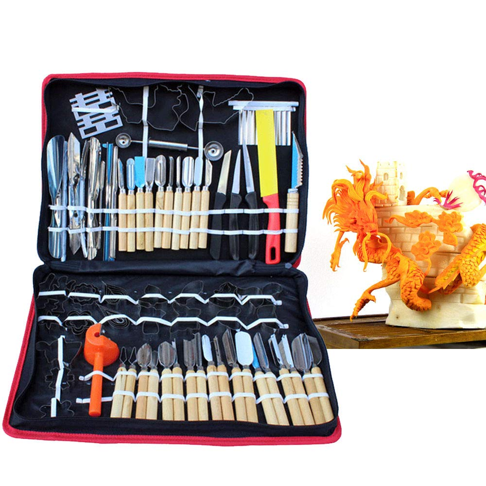 WUPYI 80pcs Kitchen Carving Tools Kit,Portable Vegetable Fruit Food Peeling Carving Tools Kit Culinary Carving Tool Set Fruit Veg Garnishing Making for Chef DIY with Carry Box by WUPYI