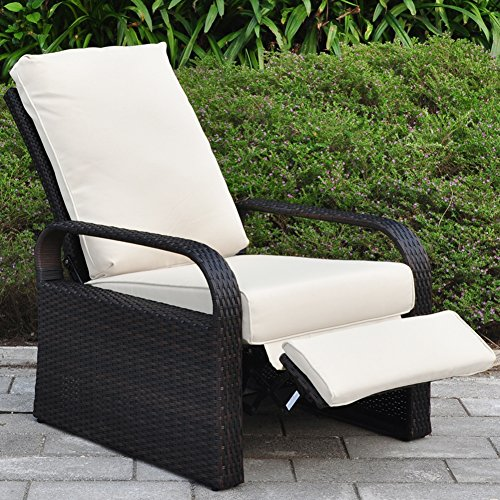 Outdoor Resin Wicker Patio Recliner Chair with Cushions, Patio Furniture Auto Adjustable Rattan Sofa with Bonus Armrest Organizer, UV/Fade/Water/Sweat/Rust Resistant by ART TO REAL