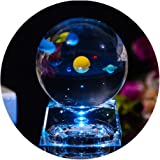3D Crystal Ball with Solar System Model, 80mm (3.15 inch) Solar System Crystal Ball for Teacher of Physics, Girlfriend, Class