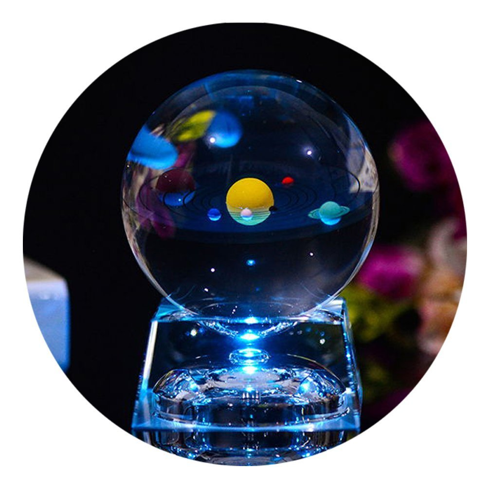 3D Crystal Ball with Solar System model and LED lamp Base, Clear 80mm (3.15 inch) Solar System Crystal Ball, Best Birthday Gift for Kids, Teacher of Physics, Girlfriend Gift, Classmates and Kids Gift by FTYtek