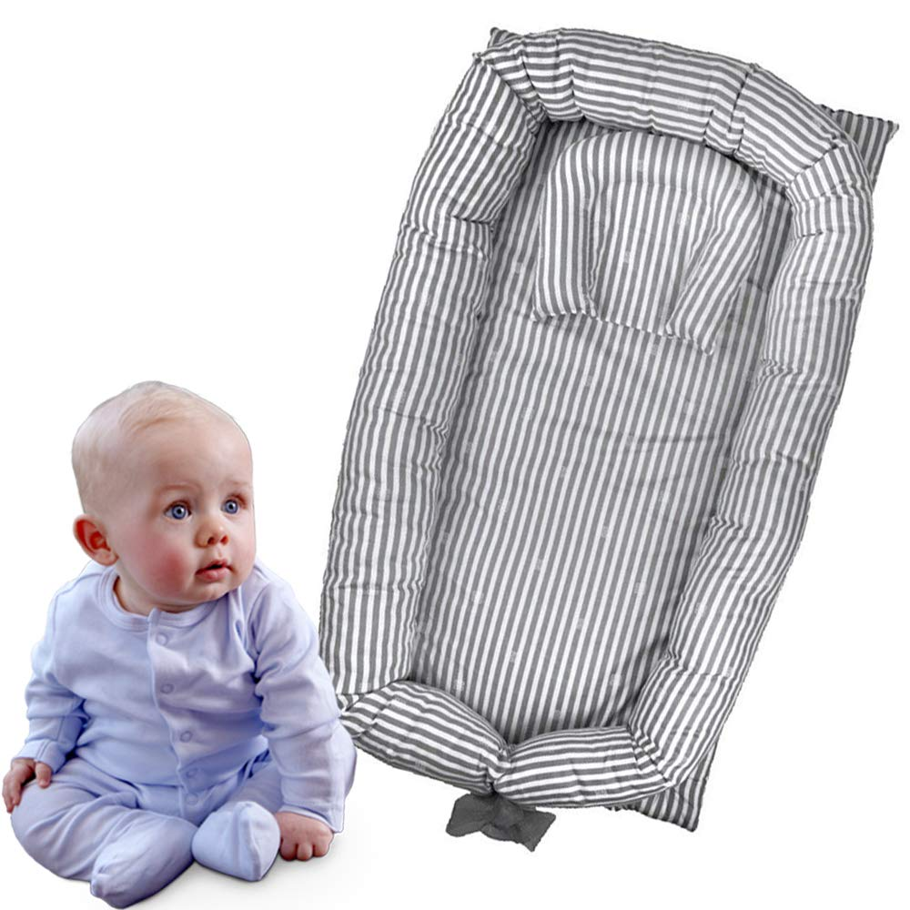 Brandream Portable Crib for Bedroom/Travel - Grey Striped Newborn Baby Bassinet/Lounger/Nest/Cot Bed, 100% Soft Breathable Cotton