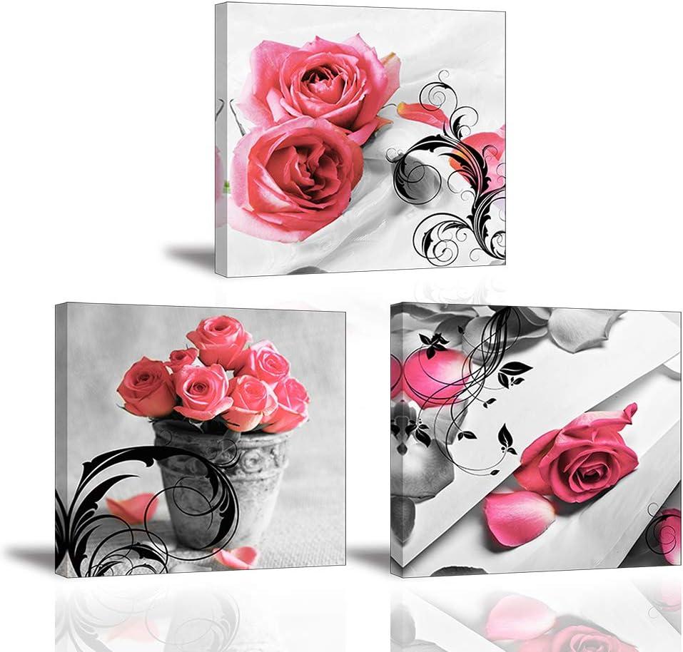 Piy Painting 3X Impresiones de Lienzo en Flores Rosas Símbolo de Amor Cuadro en Lienzo Pinturas Murales Moderno Imagen Listo para Colgar para Cuarto de Baño Decor de Sala de Estar Regalo 30x30cm