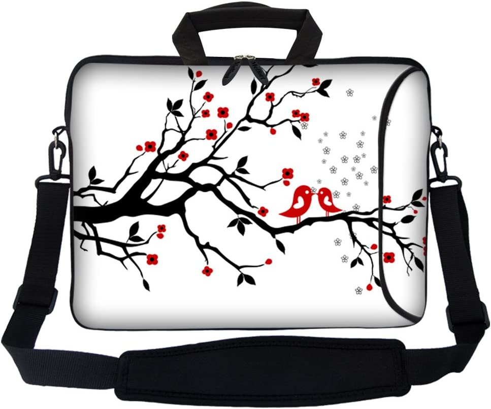"Meffort Inc 17 17.3 inch Neoprene Laptop Bag Sleeve with Extra Side Pocket, Soft Carrying Handle & Removable Shoulder Strap for 16"" to 17.3"" Size Notebook Computer - Loving Birds"