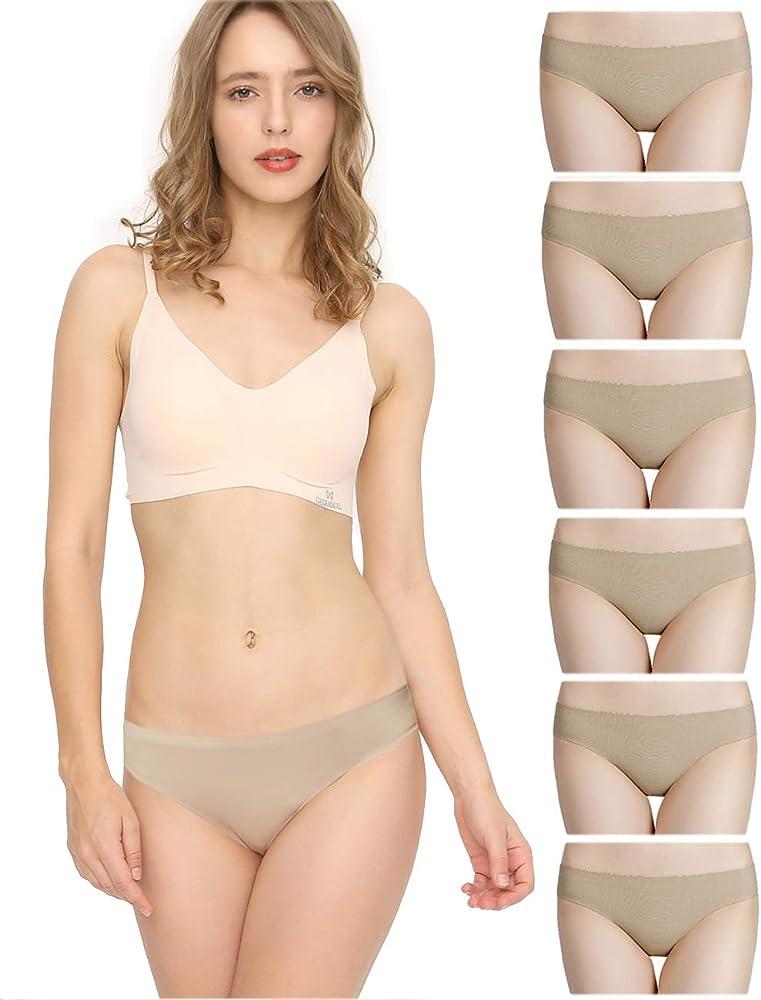 Bragas Mujer sin Costuras Invisible Señoras Braguitas Low Rise Suave Ligera Bikini Braguitas, Pack de 6 Beige XS: Amazon.es: Ropa y accesorios