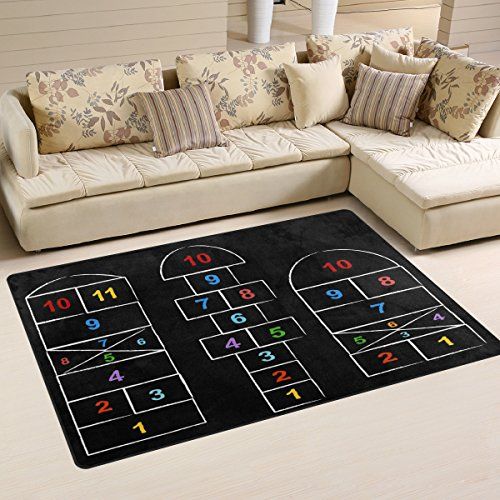 WOZO Hopscotch Games Black Area Rug Rugs Non-Slip Floor Mat Doormats Living Room Bedroom 60 x 39 inches ()