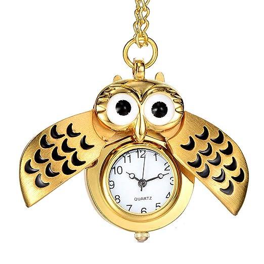 Homeofying - Reloj de bolsillo con diseño de búho de dibujos animados antiguos, de cuarzo, analógico, colgante para regalo de Navidad, 4#: Amazon.es: ...