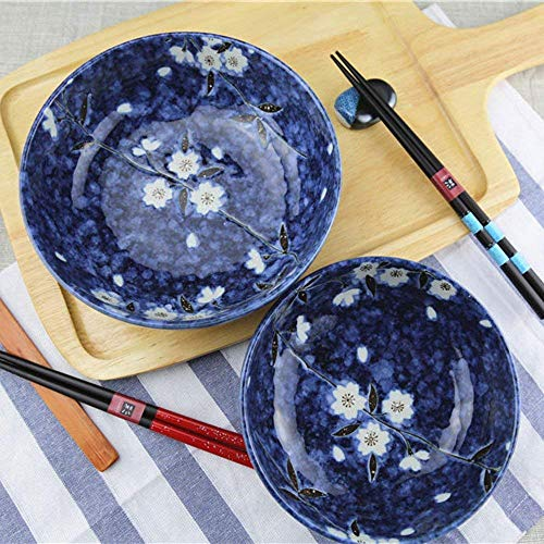 Canju Kitchen/Tableware/for Home Outdoor Camping Soup Ramen Noodle Bowl Fruit Salad Pasta Mixing Serving Bowl Creative Hand-Painted Cherry Blossoms Ceramic Tableware 8 Inches Blue,6 ()