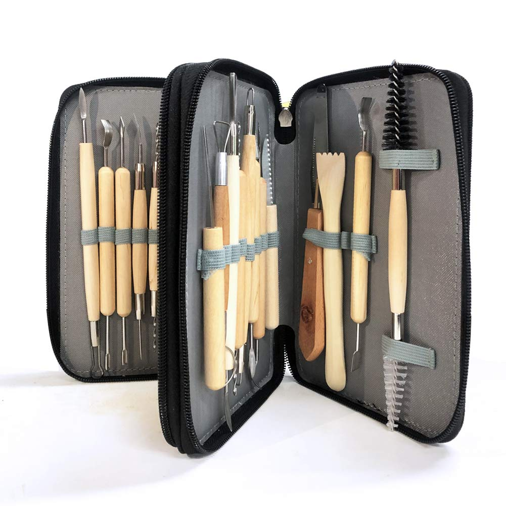Sculpting Tools,YZNlife Set of 30 Clay Sculpting Tool Wooden Handle Pottery Carving Tool Kit,with Carring Bag,Apron and Sleeves