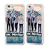 Official One Direction 1D Group 1 Group Photo Sky Blue Liquid Glitter Case For Apple iPhone 6 / 6s