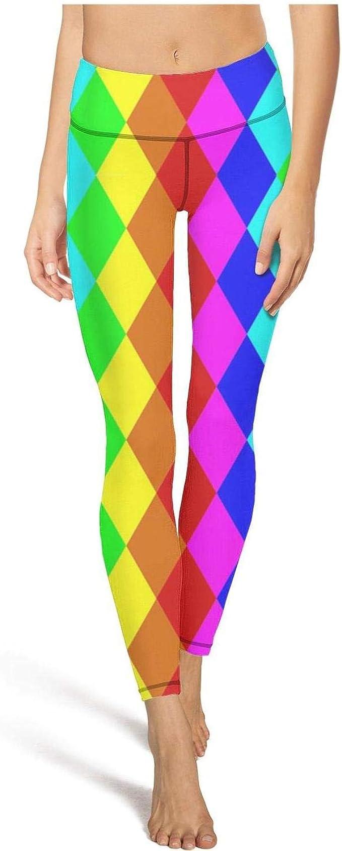 AIKYAN Red Blue Checkerboard Womens Yoga Pants High Waist Leggings Active Capris