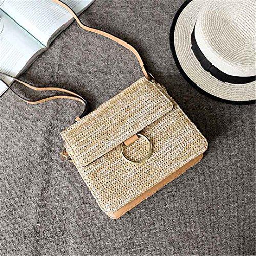 Beach Straw Bags Women's Summer Shoulder Female Bag Fashion Shoulder Bag Ring Trip Point Crossbody Ss3171 Khaki Khaki