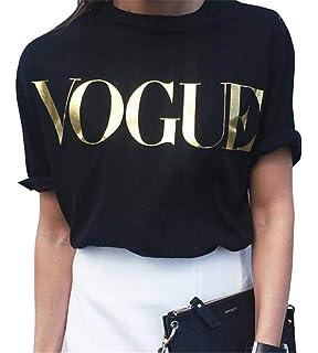 Minetom Donne Ragazze Estate Elegante Maniche Corte Camicetta Maglietta  Casuale Girocollo Stampa Slogan di Vogue T a64e95b736f