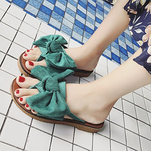 Summer Girls Dressy Bow Slip Flops Platform Sandals Slippers JULY Womens FILP Beach Butterfly Green Ladies On T Flat xC6PO