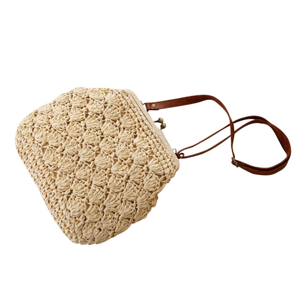 Flada Shell Crochet Straw Woven Shoulder Bags With Vintage Brass