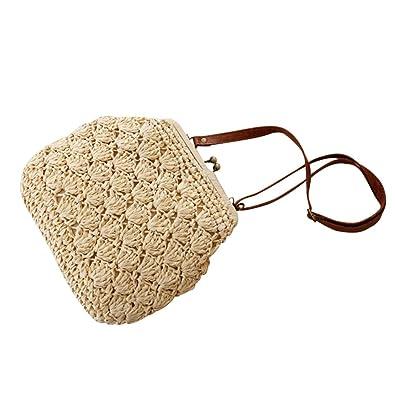 Amazon.com: Flada Shell Bolsas de hombro tela crochet paja ...
