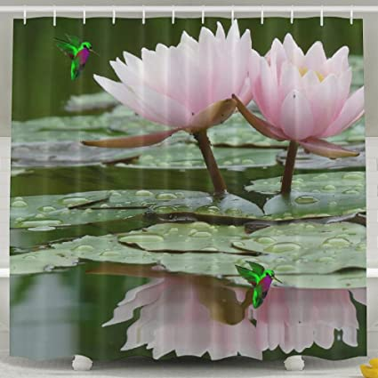 Amazon letepro shower curtain peaceful lotus flower in the letepro shower curtain peaceful lotus flower in the water screensaver waterproof polyester fabric decorative mightylinksfo