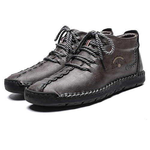 Botas de Gamuza Tobillo Conducción para Hombre Botines Chukka Desert Boat Zapatos Mocasín sin Cordones Livianos Cuero