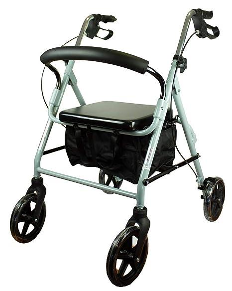 Andador para ancianos, Aluminio, Plegable, Frenos en manetas, Asiento y respaldo, 4 ruedas, Gris, Sofía, Mobiclinic