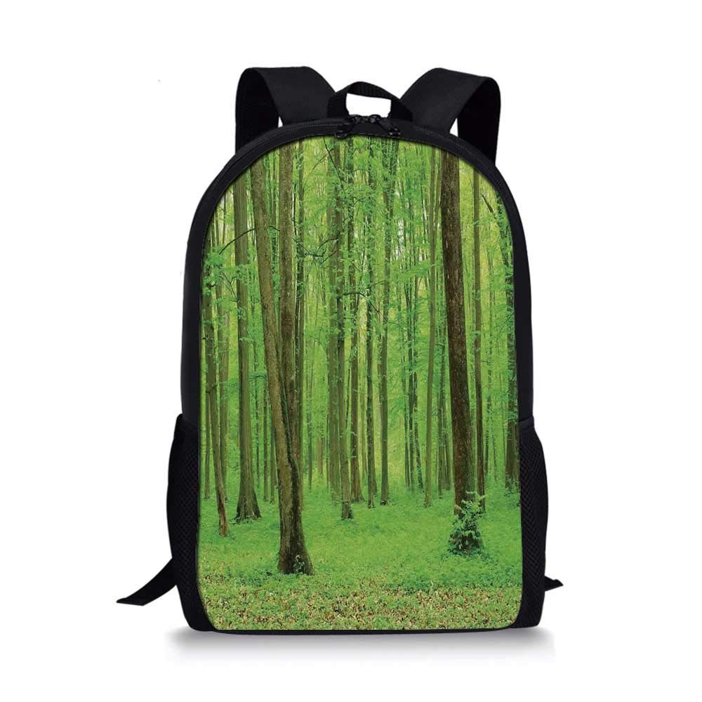 Forest Stylish School Bag,Spring Forest in a Sunny Day Fresh Soft Colors Like a Dream Leaf Peace Theme Print Decorative for Boys,11''L x 5''W x 17''H by C COABALLA