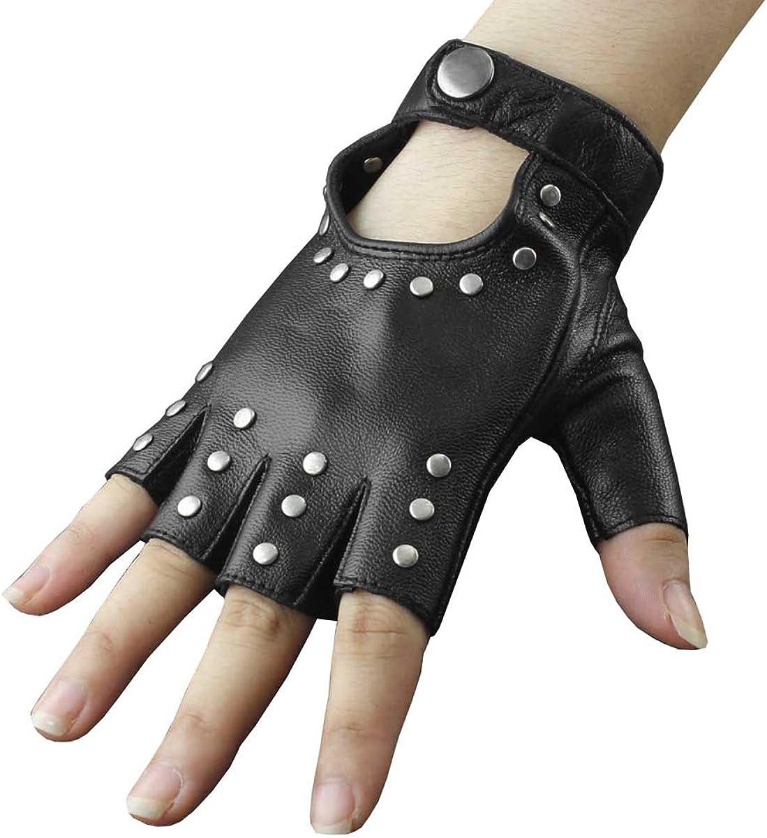 Leather Fingerless Short Gloves Black Rivets Stud Half Finger Mittens Fashion JT