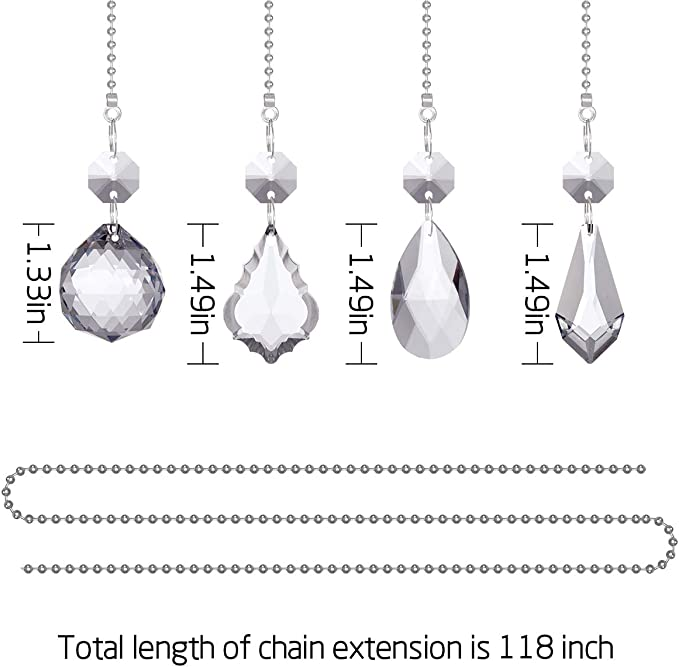 4 Pcs Ceiling Fan Crystal Ball Prisms Pendants and 118 inches 3.2mm Beaded Ball Fan Pull Chain Set with 8 Connectors for Ceiling Light Fan Decor Apipi Clear Crystal Fan Pull Chain Extension