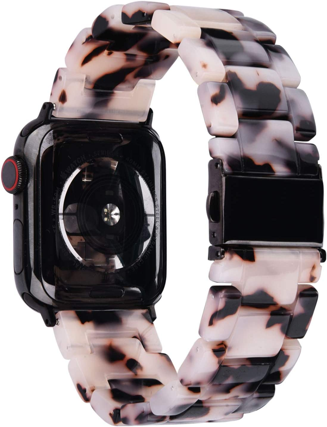 V-MORO Resin Strap Compatible with Apple Watch Band 38mm 40mm Series 5/4/3/2/1 Women Men with Stainless Steel Buckle, Apple iWatch Replacement Wristband Bracelet (Black floral, 38mm/40mm)