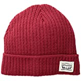 Levi's Men's Knit Cuff Beanie with Woven Label, Red, One Size