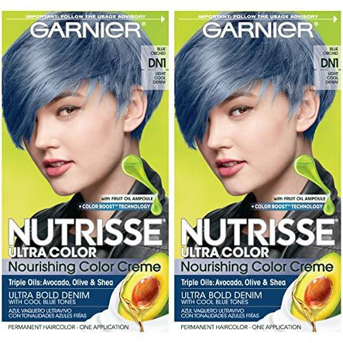 Garnier Nutrisse Ultra Color Nourishing Permanent Hair Color Cream, DN1 Light Cool Denim (2 Count) Blue Hair Dye