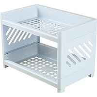 wastreake Rack de armazenamento de papelaria de camada dupla, Rack de 2 andares para armazenamento de mesa de duas…