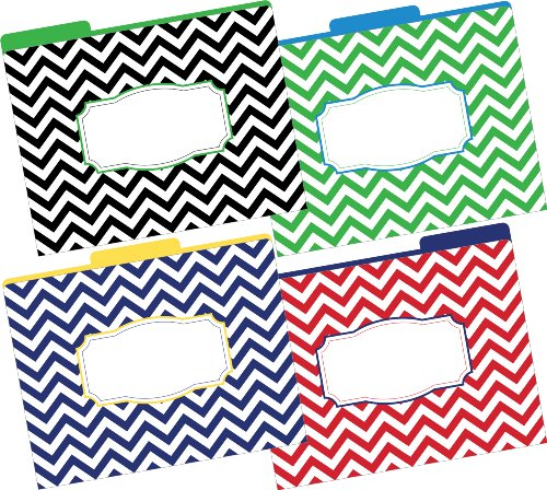 Barker Creek - Office Products 1/3 Cut Tabs Reversible Letter-Size Fashion File Folders, 12-Count (LL-1332)