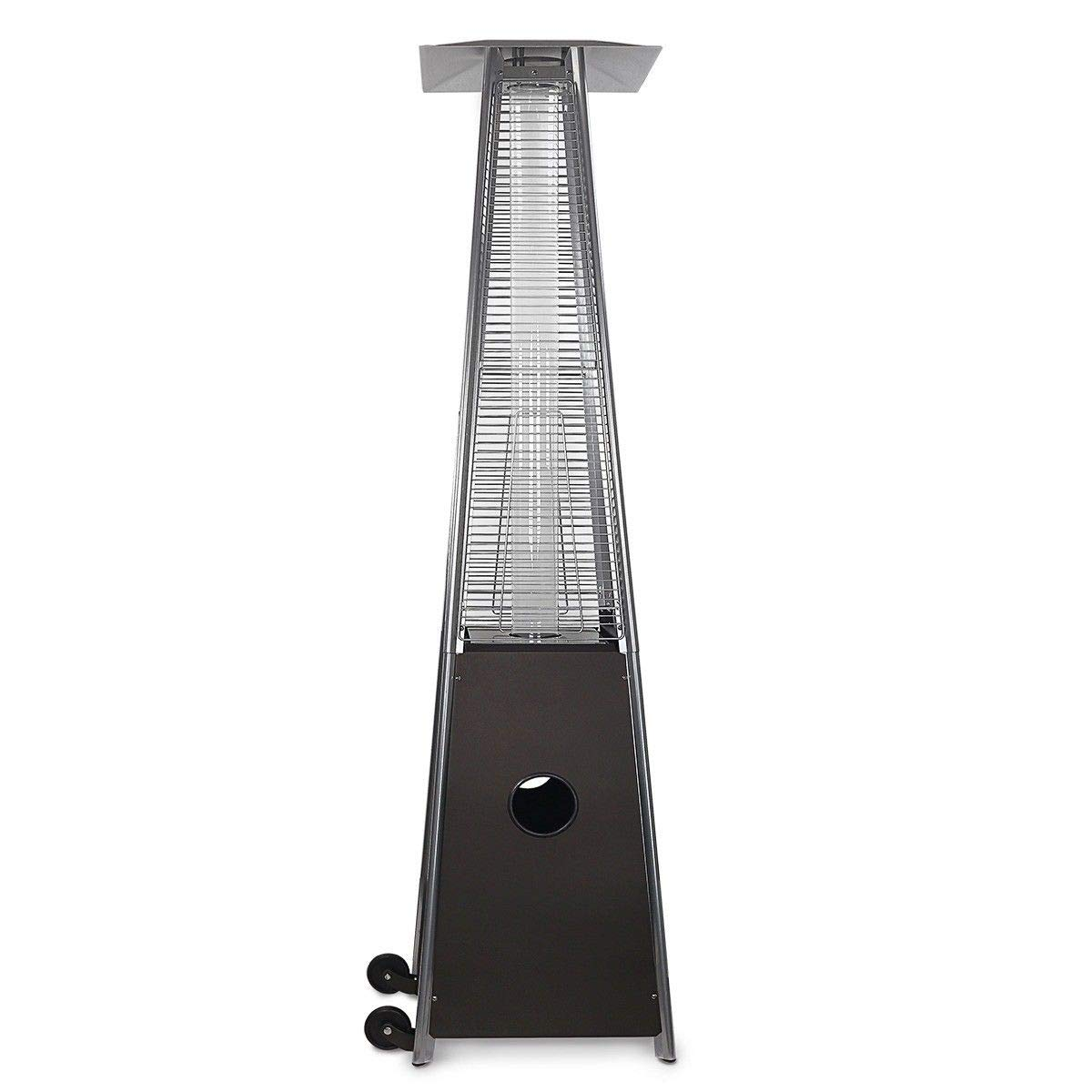 Hiland HLDSO1-WGTHG Pyramid Glass Tube Propane Patio Heater w/Wheels