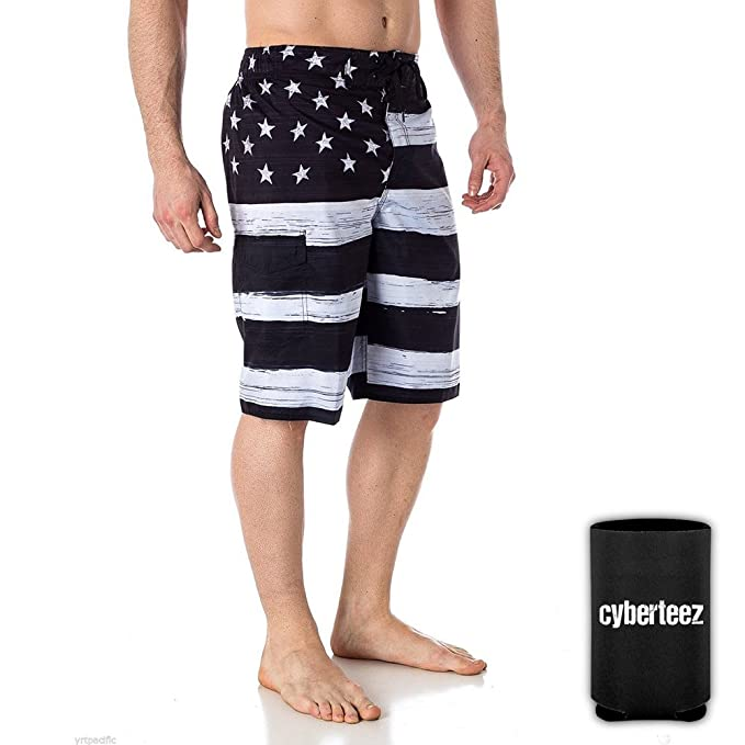 96c659b98442 USA American Flag Old Glory Men s B W Patriotic Board Shorts Swim Trunks +  Coolie