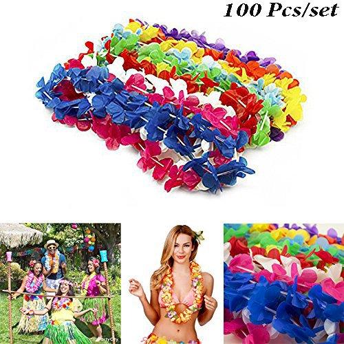 Adorox (100 Pcs) Plastic Hawaiian Luau Neon Lei Necklace Beach Party Favor Decoration Multi-color Floral Wedding Assortment (Floral) -
