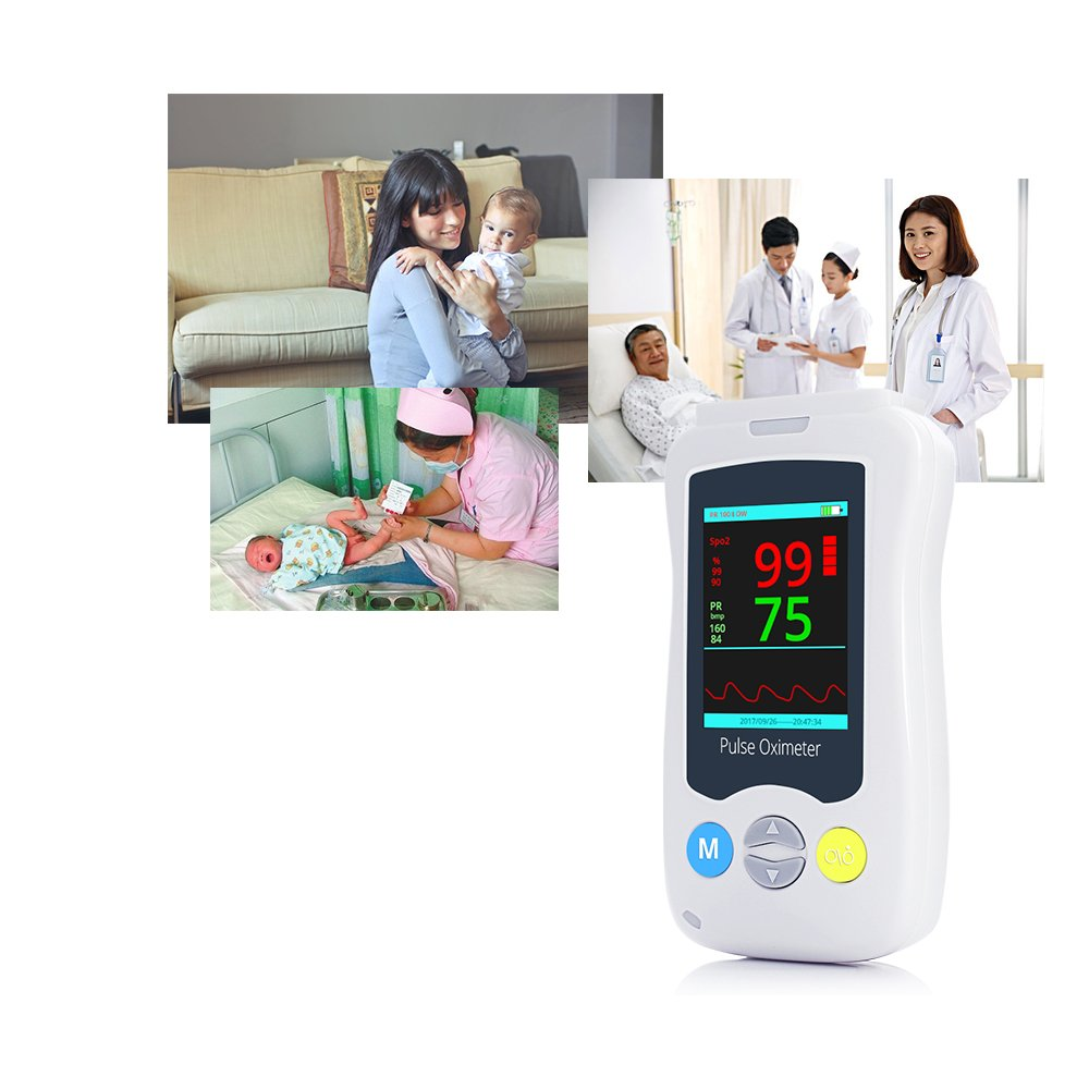 Handheld Pulse Oximeter Fingertip Blood Oxygen Saturation Health Monitor with 2.4'' LCD Display Probe Opitional Yonker YK-820Mini - Adult(Battery Included) by Yonker (Image #4)