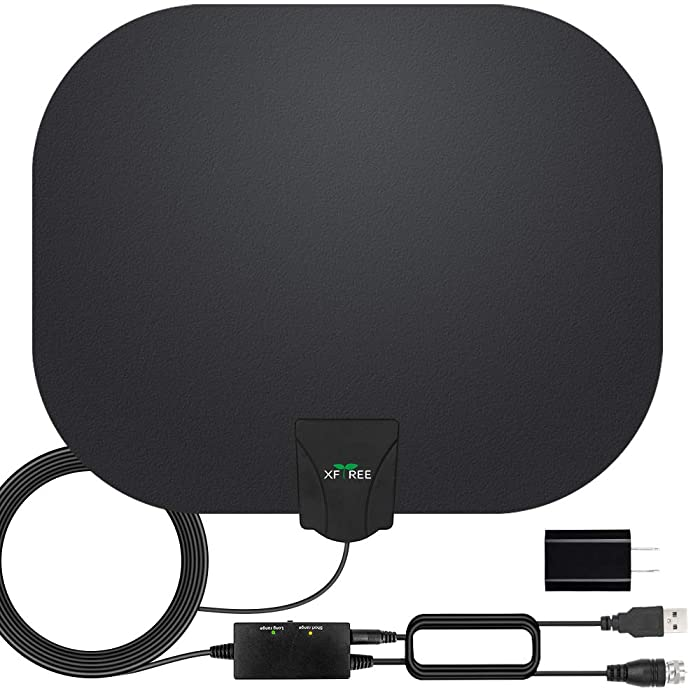 HDTV Antenna, 2019 Newest Indoor Digital TV Antenna 130+ Miles Range with Amplifier Signal Booster 4K HD Free Local Channels Support All Television -17ft Coax Cable