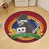 Gzhihine Custom round floor mat Skull Casino Background with Dead Skeleton Poker King Gambler Vegas Smart Game Graphic Bedroom Living Room Dorm Multicolor