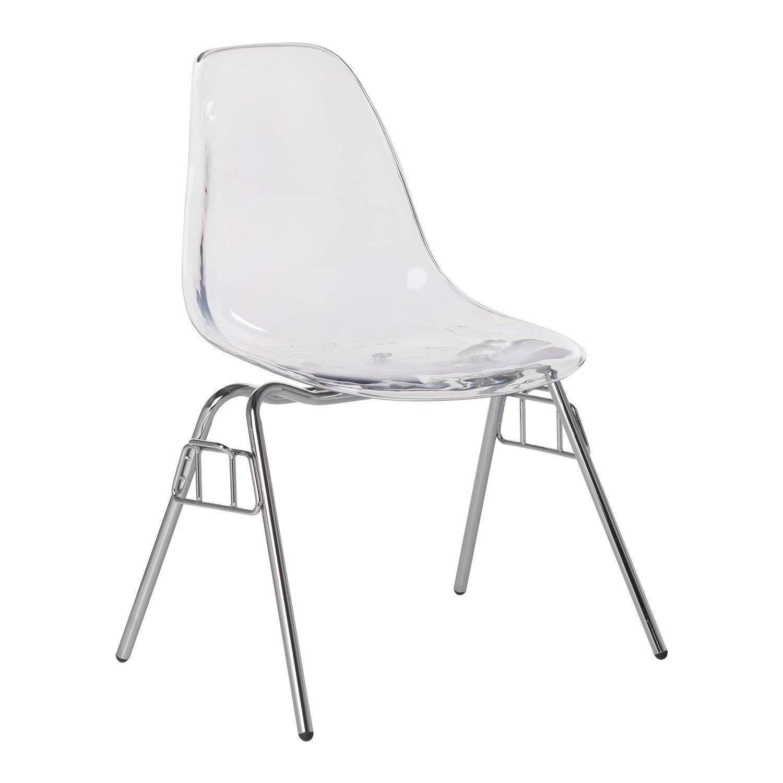 Estupenda silla con asiento transparente y patas de acero. Rememora la silueta de las antiguas sillas de escuela.