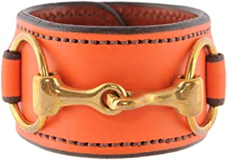product image for Equestrian Brass Horse Snaffle Bit Leather Cuff Bracelet