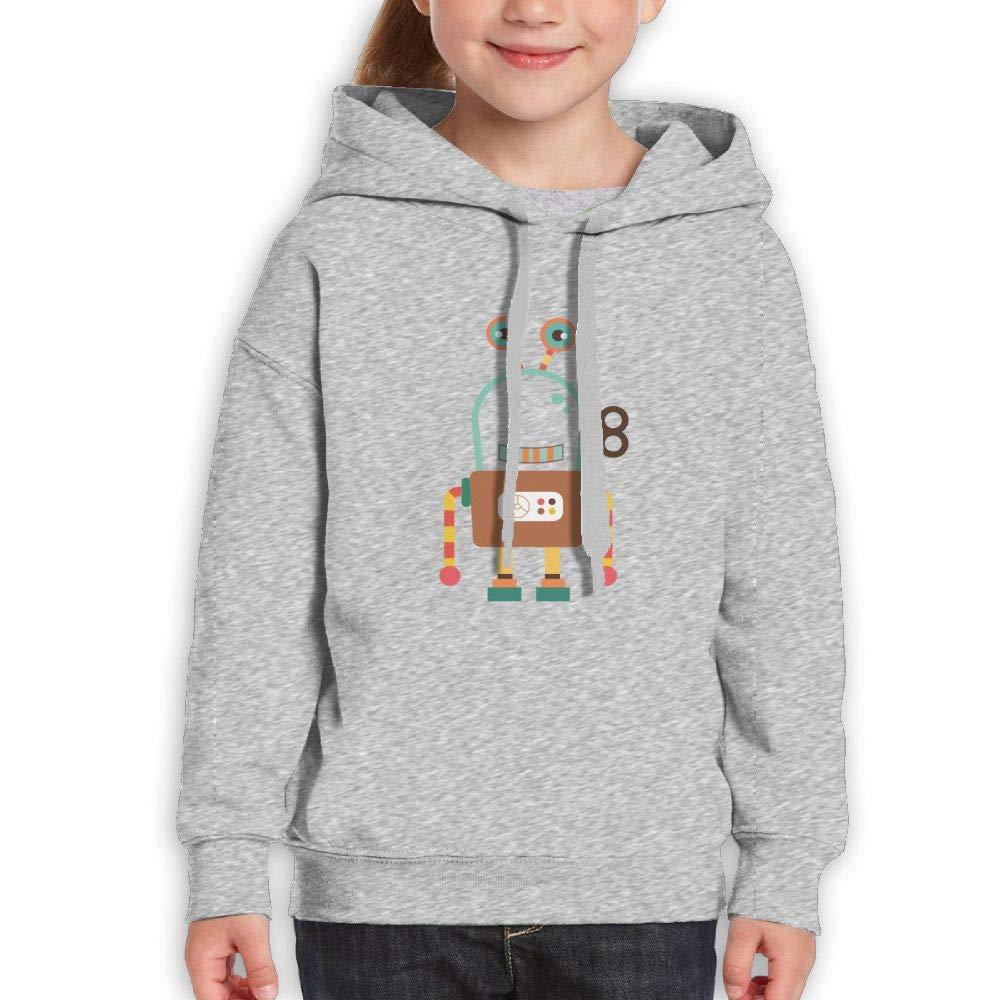 Qiop Nee Funny Cartoon Robot Unisex Hooded Print Long Sleeve Sweatshirts for Girls'